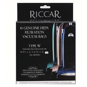 Riccar type W Brilliance HEPA Vacuum Bags (6 Pack) Part # RWH-6 for older models