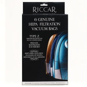 Riccar Moonlight, Pizzazz and Sunburst Canister HEPA Media Vacuum Bags (6 Pack) Original Riccar Part # RZH-6
