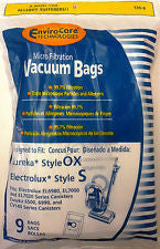 Electrolux style  S and Eureka style OX Vacuum Bags  - 9 pack