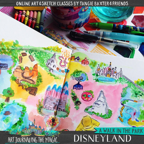 urban sketch art journal Disneyland park with Tangie Baxter and Friends at ArtJournalingtheMagic.com