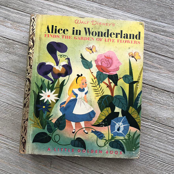 Alice in Wonderland Finds the Garden of Live Flowers (Extremely Rare Vintage) -Golden Book Journal READY TO SHIP