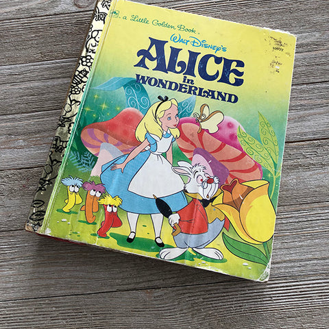 Alice in Wonderland Yellow Bright [Vintage]-Golden Book Journal READY TO SHIP