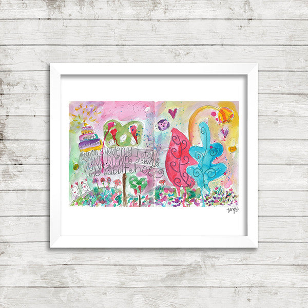 Digital Alice in Wonderland art print by Tangie Baxter, Art Journaling the Magic, Disneyland
