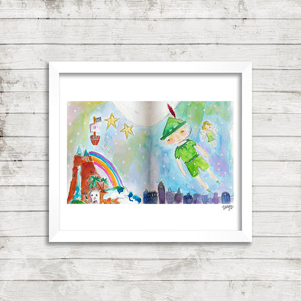 Digital Peter Pan Tinker Bell art print by Tangie Baxter, Art Journaling the Magic, Disneyland
