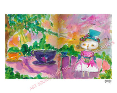 Digital Alice Disneyland Teacups art print by Tangie Baxter, Art Journaling the Magic, Disneyland