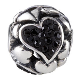 SilveRado Black Love Hearts Bling