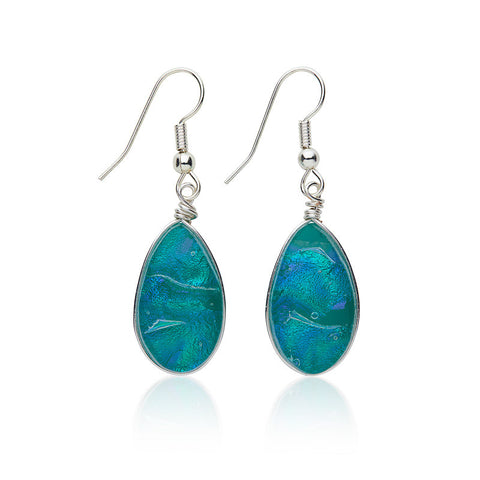 Custom made Carribean Dichroic Glass Earrings