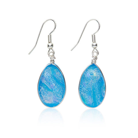 Custom made Bubblegum Blue Dichroic Glass Earrings
