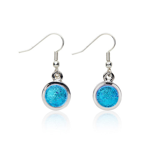 Custom made Bubblegum Blue Dichroic Glass Circular Earrings