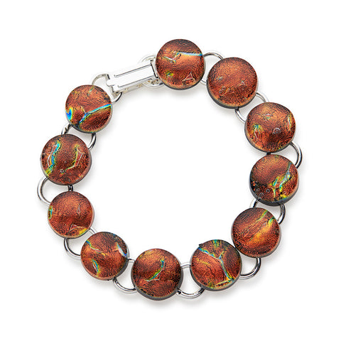 Custom made Autumn Leaves Dichroic Glass Bracelet