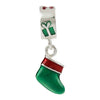 SilveRado Christmas Stocking Green Sterling Silver Charm