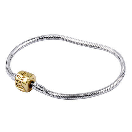 SilveRado Two Tone Bracelet 18cm Sterling Silver Chain with 14kt Gold Clasp