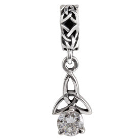 SilveRado Celtic B-stone April CZ Sterling Silver Celtic Collection Birth Stone Charm