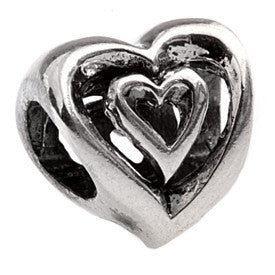 SilveRado 2 Hearts as 1 Sterling Silver Charm