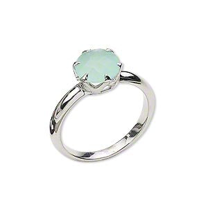 Custom Made Sterling Silver Natural Chrysoprase Ring