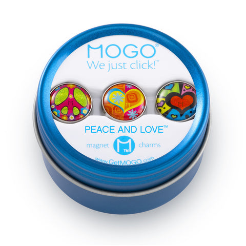 MOGO Charm Collection - Peace and Love (Tin of 3 Charms)