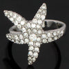 Ring, Custom Made Starfish Ring featuring Swarovski Crystals S, Custom Made Jewellery- Caitlin's Crafty Creations