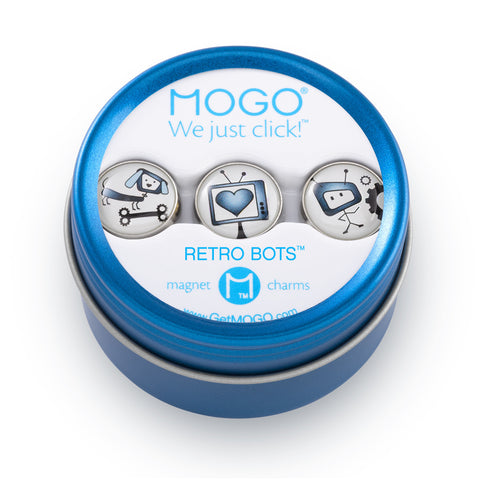 MOGO Charm Collection - Retro Bots (Tin of 3 Charms)