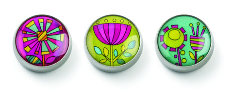 MOGO Charm Collection - Funky Flowers (Tin of 3 Charms)