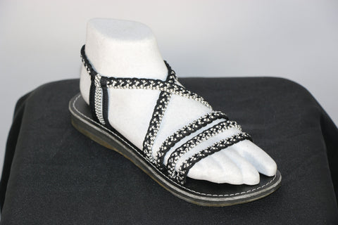 Loki Sandals - 11 - Black / Black-White (No Toe)
