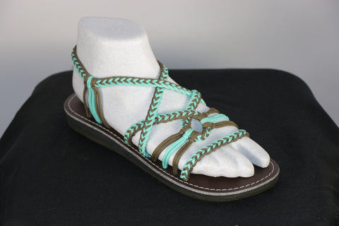 Loki Sandals - 29 - Pool Blue /Olive (Open Toe)