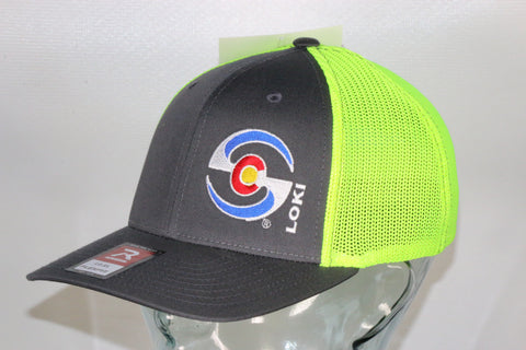 Flexfit Trucker Hat - Charcoal Body / Neon Mesh