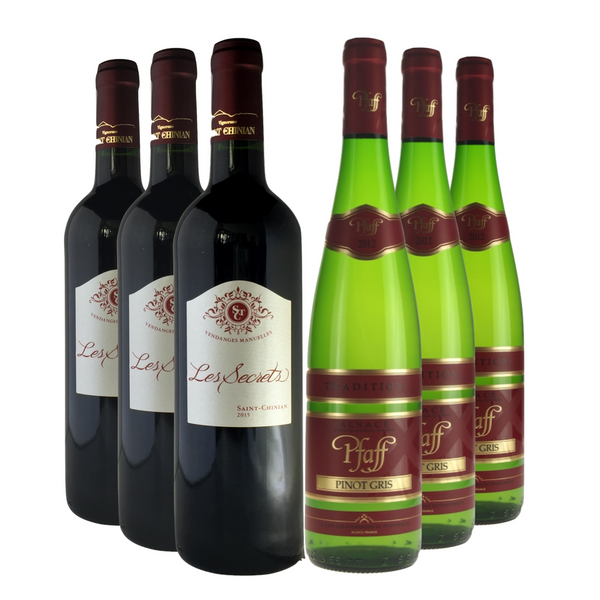 package of 6 bottles of exclusive boutique wine. Red wine and white wine. Italy, France, Spain, Portugal, Chili