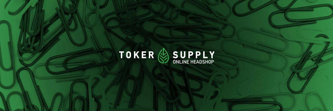 Toker Supply logo over paper clips for DIY smoking tips