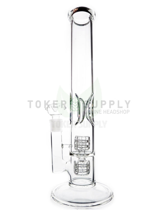 "15"" Fat Double Barrel Perc Straight Tube Water Pipe"