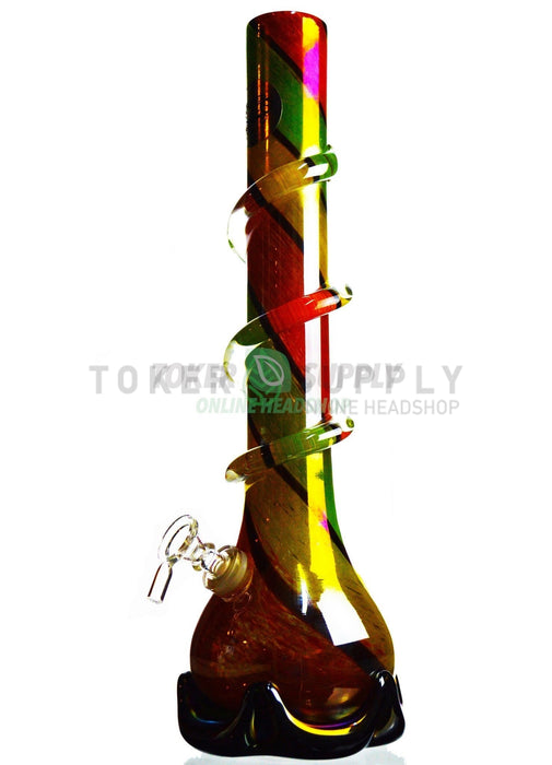 "16"" Spiral Rasta Glass Water Pipe"