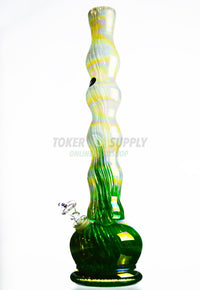 "18"" Bubble Design Colored Glass Water Pipe"