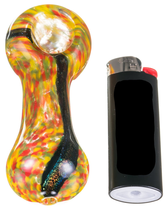 Dichro Stripe Fritted Hand Pipe - Toker Supply