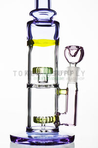 Double Showerhead Perc Purple Tubing Water Pipe