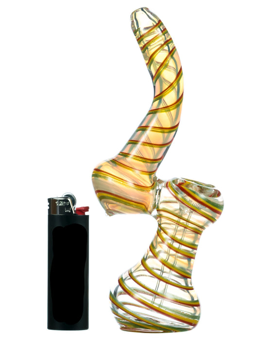 Fumed Bubbler with Rasta Swirl - Toker Supply