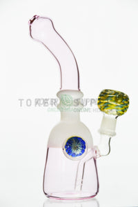 Pink Glass Bent Neck Water Pipe