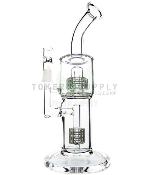 "The ""Loud Pack"" Bent Neck Double Stereo Matrix Perc Water Pipe"