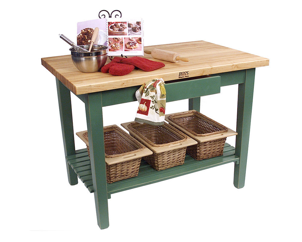 Country Work Table in Basil