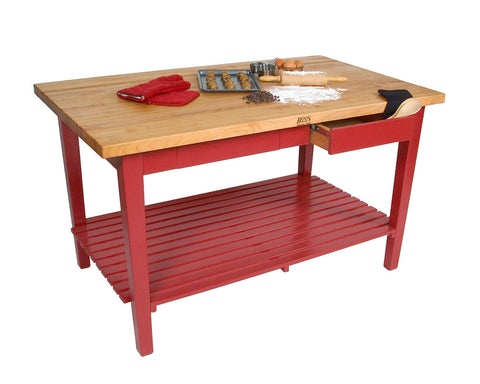 John Boos Classic Country Work Table Extra Long, Barn Red