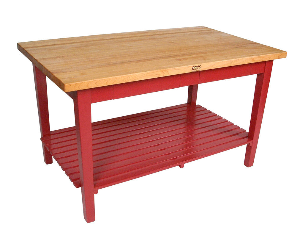 Superieur John Boos Classic Country Work Table Barn Red