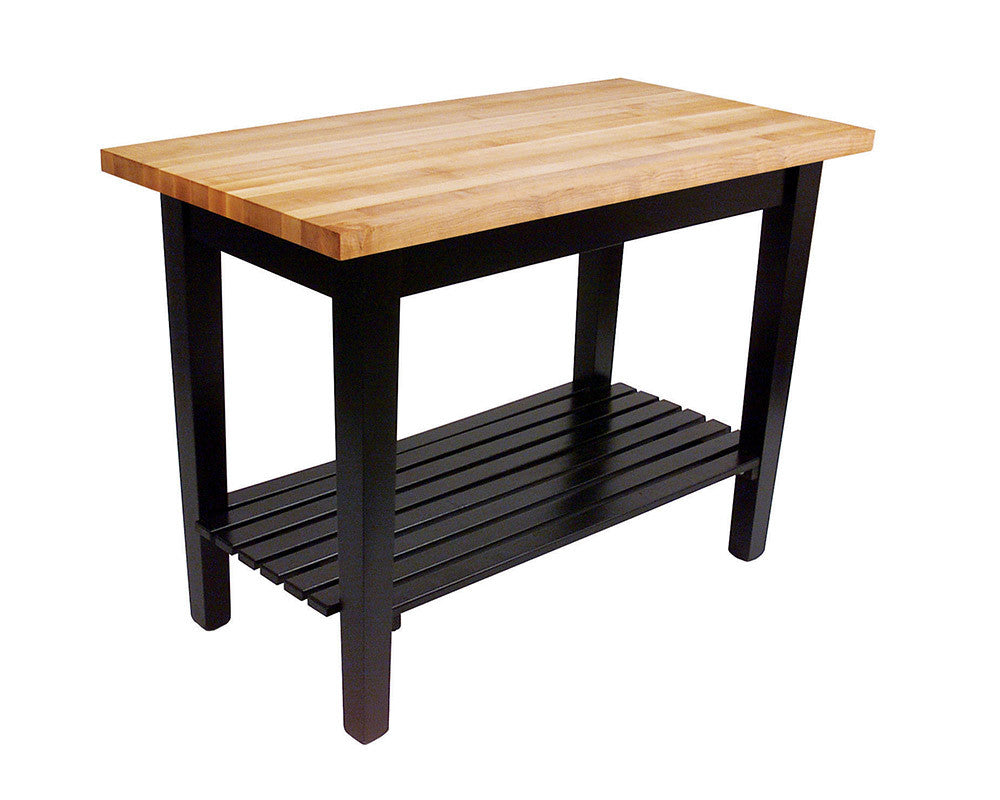 Country Work Table in Black with One Shelf
