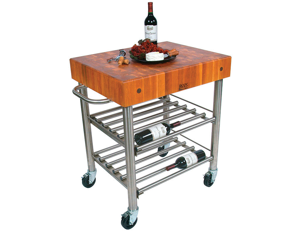 John Boos Cherry D'Amico Wine Cart