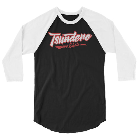 tsundere love and hate - 3/4 sleeve raglan shirt