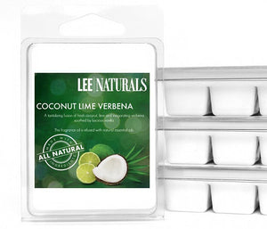 COCONUT LIME VERBENA Premium 6-Piece Soy Wax Melt Clamshell - LeeNaturals.com - 1