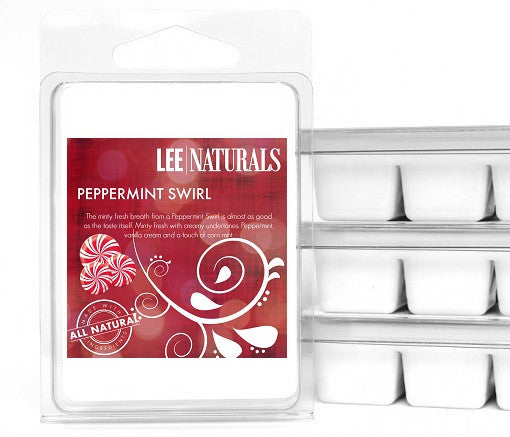 PEPPERMINT SWIRL Premium 6-Piece Soy Wax Melts - LeeNaturals.com - 1
