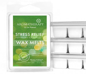 STRESS RELIEF - Peppermint & Eucalyptus Premium 6-Piece Soy Wax Melts - LeeNaturals.com - 1