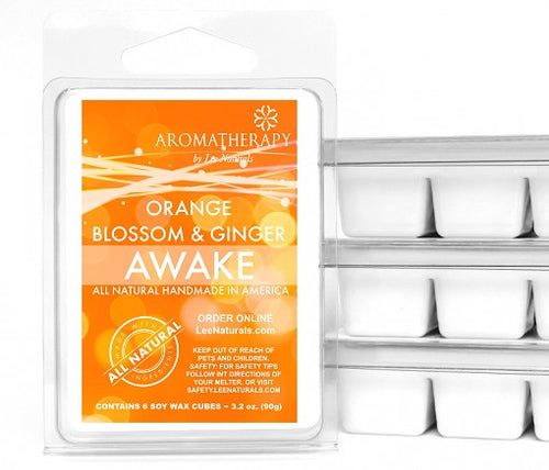 AWAKE - Orange Blossom & Ginger Premium 6-Piece Soy Wax Melts - LeeNaturals.com - 1
