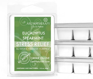 STRESS RELIEF - Eucalyptus & Spearmint Premium 6-Piece Soy Wax Melts - LeeNaturals.com - 1