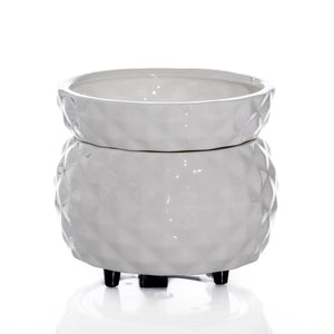 Designer White Textured Pattern Candle & Tart Warmer 2 in 1