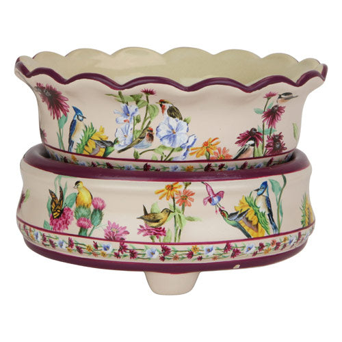 Designer Painted BIRDS Candle & Tart Warmer 2 in 1