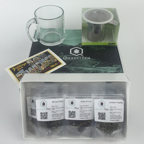 Tea flight gift set/ Tea sampler gift set - Twelve packets of single origin loose leaf tea with mug and infuser basket